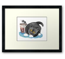 Strawberry Shake Tempts Mouse. Framed Print