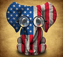 Baby Elephant with Glasses and American Flag by Jeff Bartels