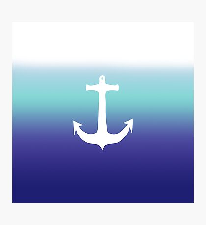 Sea Blue Gradient and Trendy White Anchor Photographic Print