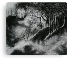 Black and White Forest in Clouds Canvas Print
