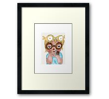 Owl art print, 'Boy with owl hat and snail' Framed Print