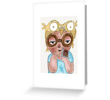 Owl art print, 'Boy with owl hat and snail' Greeting Card