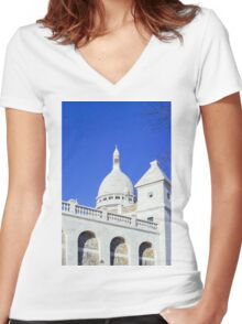Sacre Coeur Closeup Women's Fitted V-Neck T-Shirt