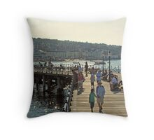 Victorian pier at Swanage, south coast of England Throw Pillow