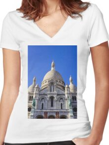 Sacre Coeur Front View Women's Fitted V-Neck T-Shirt