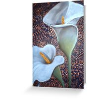 Two White Arum Lilies Greeting Card