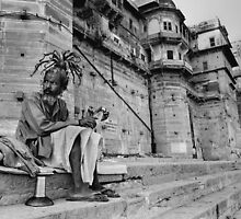 Pilgrim at Banares,Varanasi,India 2004. by Neil Bussey