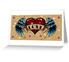Tattoo Heart with Wings Greeting Card