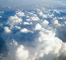 Blue and White Fluffy Clouds by susan stone