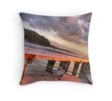 Pelican at Little Beach jetty Throw Pillow