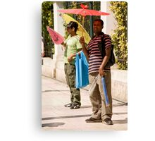 Hot Day Umbrella Sales Canvas Print
