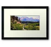 Canoeing in the Rockies Framed Print