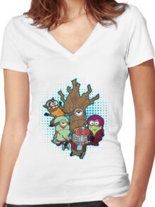 Galaxy Minions Women's Fitted V-Neck T-Shirt