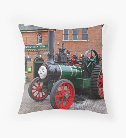 """Trevor"" The Traction Engine Throw Pillow"