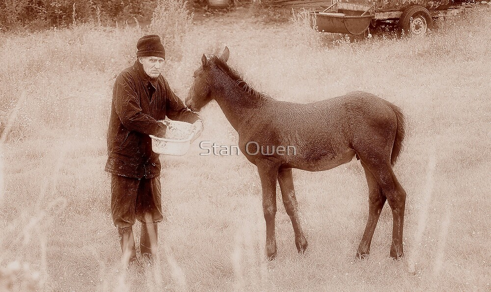 Farmer & 10 week old foal. by Stan Owen