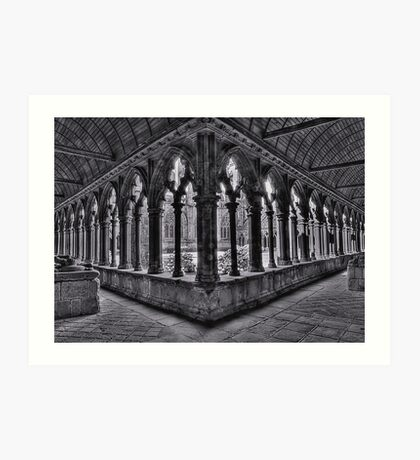 A corner of the cloisters, St Tugdual Cathedral, Tregier, Brittany, France Art Print