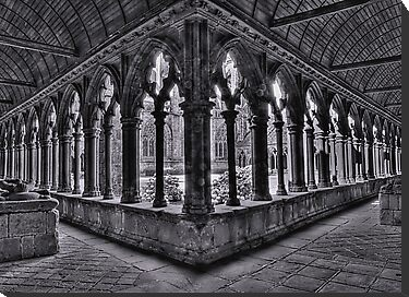 A corner of the cloisters, St Tugdual Cathedral, Tregier, Brittany, France by Bob Culshaw