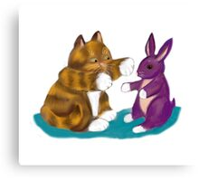 Purple Stuffed Bunny and Kitty Canvas Print