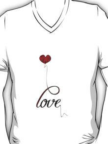 """""""Love"""" Typography with Red Heart Balloon T-Shirt"""