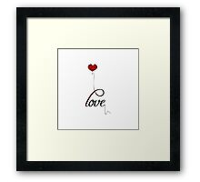 """Love"" Typography with Red Heart Balloon Framed Print"