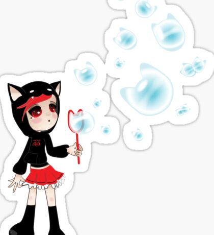Girl 33 | Blowing Kitty Bubbles Sticker