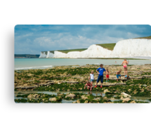 The Seven Sisters from Birling Gap: East Sussex, UK. Canvas Print