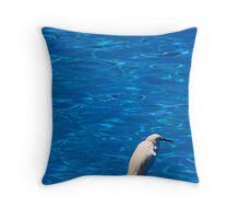 Heron On Blue Throw Pillow