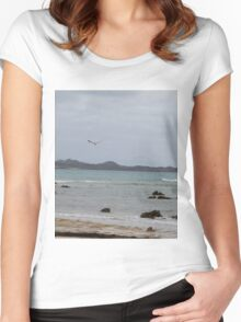 Ocean View with Seagull Women's Fitted Scoop T-Shirt
