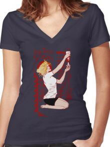 True Blood Nouveau red Women's Fitted V-Neck T-Shirt