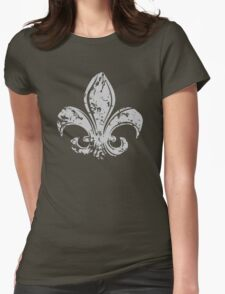 Grunge Fleur De Lis Womens Fitted T-Shirt