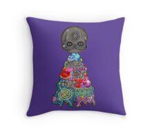 Make Art Not Barf Skull Rainbow Galaxy Illustration Throw Pillow