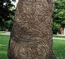 In gardens near cathedral 3-11 C AD Runestone Uppsala Sweden 198406160057 by Fred Mitchell