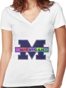 University of Michigan Logo  Women's Fitted V-Neck T-Shirt