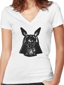 Dark Bunny Side Women's Fitted V-Neck T-Shirt