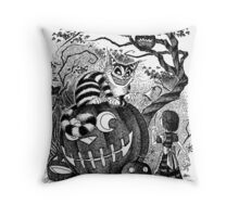 Alice and the Cheshire Cat, or A Very Merry Halloween in Wonderland Throw Pillow