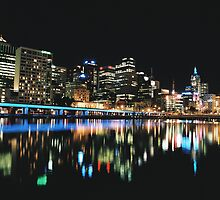 Night descends over Melbourne by Louise Marlborough