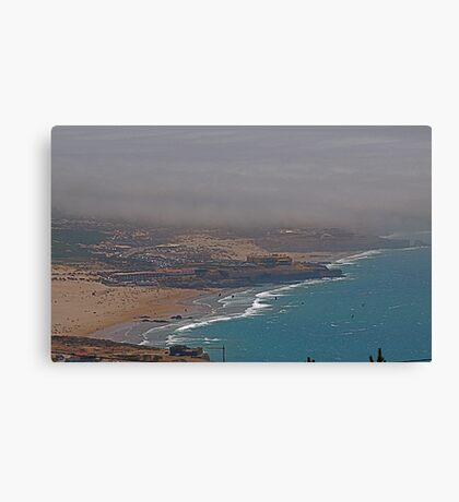 Kitsurf, windsurf and fog.... Canvas Print