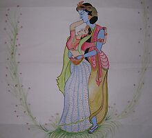 Radha Krishna Miniature Painting by jeevan