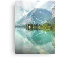 Castle and Lake of Toblino Metal Print
