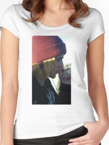 Cute mysterious man on an adventure Women's Fitted Scoop T-Shirt