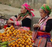 FLOWER HMONG LADIES - VIETNAM by Michael Sheridan