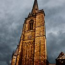 Ominous Church Clock Tower  and Foreboding Weather by Buckwhite