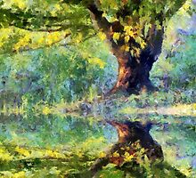 Big Tree Beside Pond by Jean Gregory  Evans