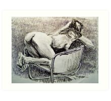 Jennifer kneeling in a chair Art Print