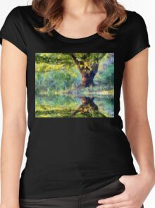 Big Tree Beside Pond Women's Fitted Scoop T-Shirt