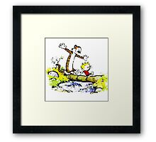 Calvin funny and hobbes funny Framed Print