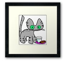 Kitty With Milk And Cookies Framed Print