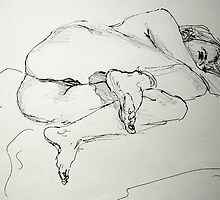 Faith curled up on her side by Johnathan Felton