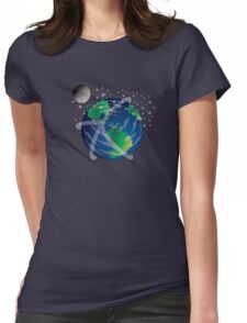 Peace on Earth with Moon Womens Fitted T-Shirt