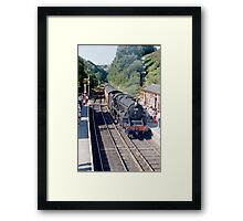 Black 5 arrives at Goathland Framed Print